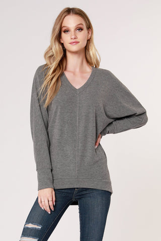 Cozy V-Neck Dolman Top, Charcoal
