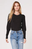 Nelia Stripe Bishop Sleeve Top, Black