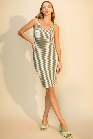 Julia Striped Rib Tank Dress, Olive