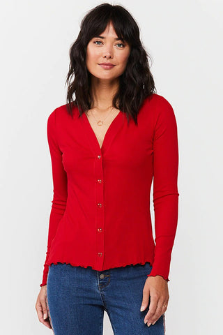 Darlene Button-Up Top, True Red
