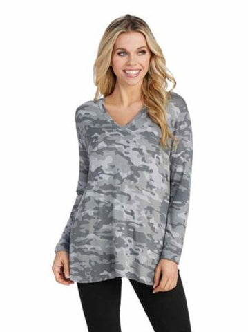 Erin Long Sleeve T-Shirt, Gray Camo
