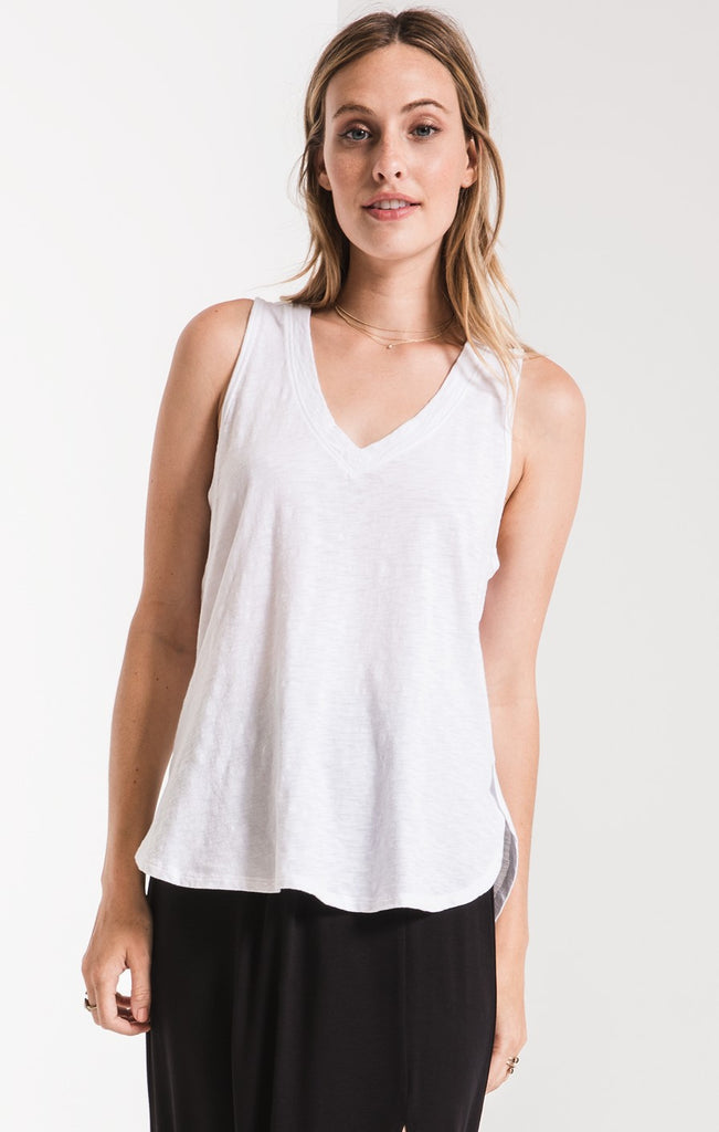 Vera Cotton Slub Tank In White
