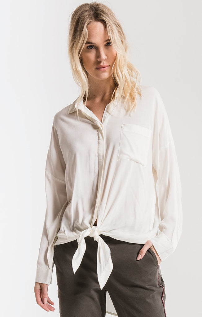 Rag Poets Ainslie Tie-Front Shirt In White