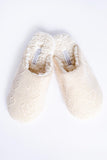 Fuzzy Cable Knit Slide Slipper, Stone