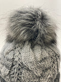 Beanie With Faux Fur Pom - Grey