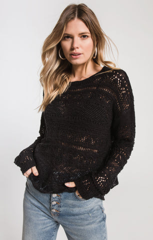 Black Swan Reyes Open Knit Sweater In Black
