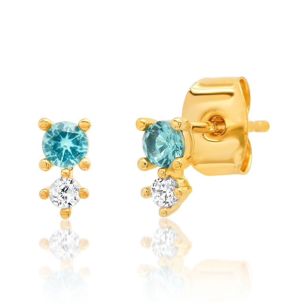 Colored CZ Studs, Aqua