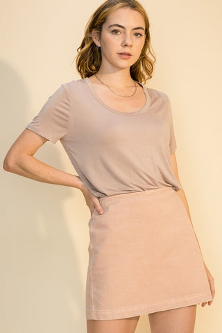 Lily Scoop Neck Tee, Blush