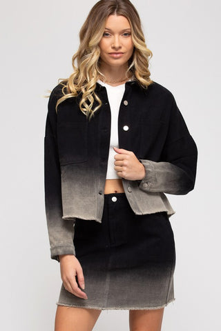Andrea Ombre Dip-Dyed Jacket, Black