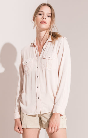 Rag Poets Myra Button-Up Blouse In Peony Pink