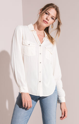 Rag Poets Myra Button-Up Blouse In White