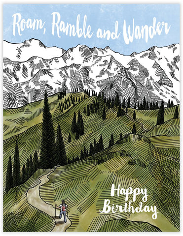 Roam Ramble Wander Birthday Card