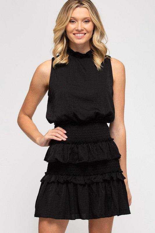 Carrie Smocked Dress, Black