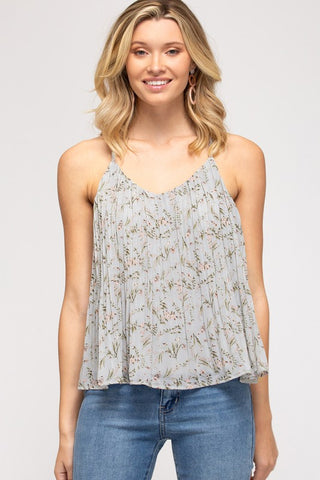 Fia Print Cami Top, Slate Grey