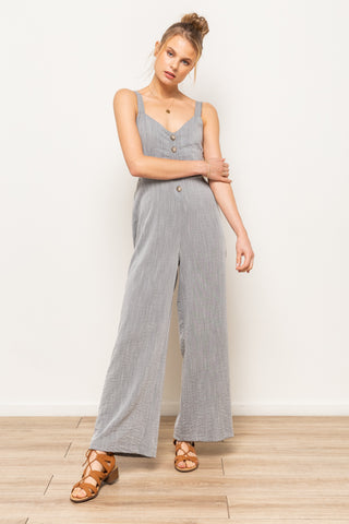 Stella Sky Rosiana Tie-Back Jumpsuit In Dove Grey