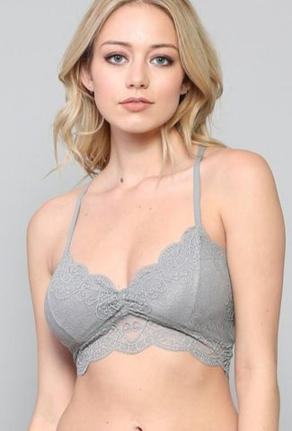 Bella Lace Racer Back Bralette In Steel