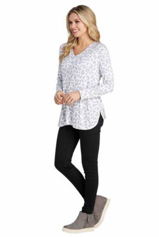 Erin Long Sleeve T-Shirt, Snow Leopard