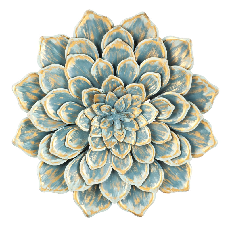 Gold and Blue Multi Layer Metallic Flower Wall Decor – Ruby Jane
