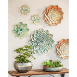 Gold and Blue Multi Layer Metallic Flower Wall Decor