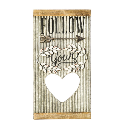 Follow Your Heart Corrugated Metal Wall Art