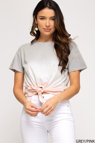 Kyle Front Tie Top, Grey/Pink