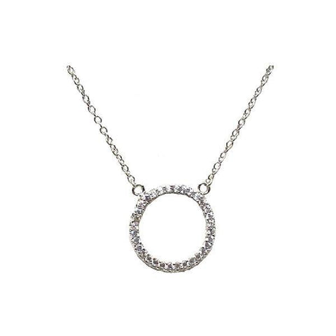 Sterling Silver Open Circle Pave Necklace