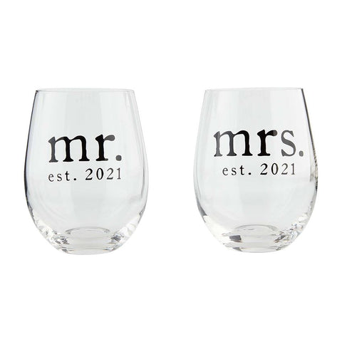 Mr. & Mrs. 2021 Wine Glass Set