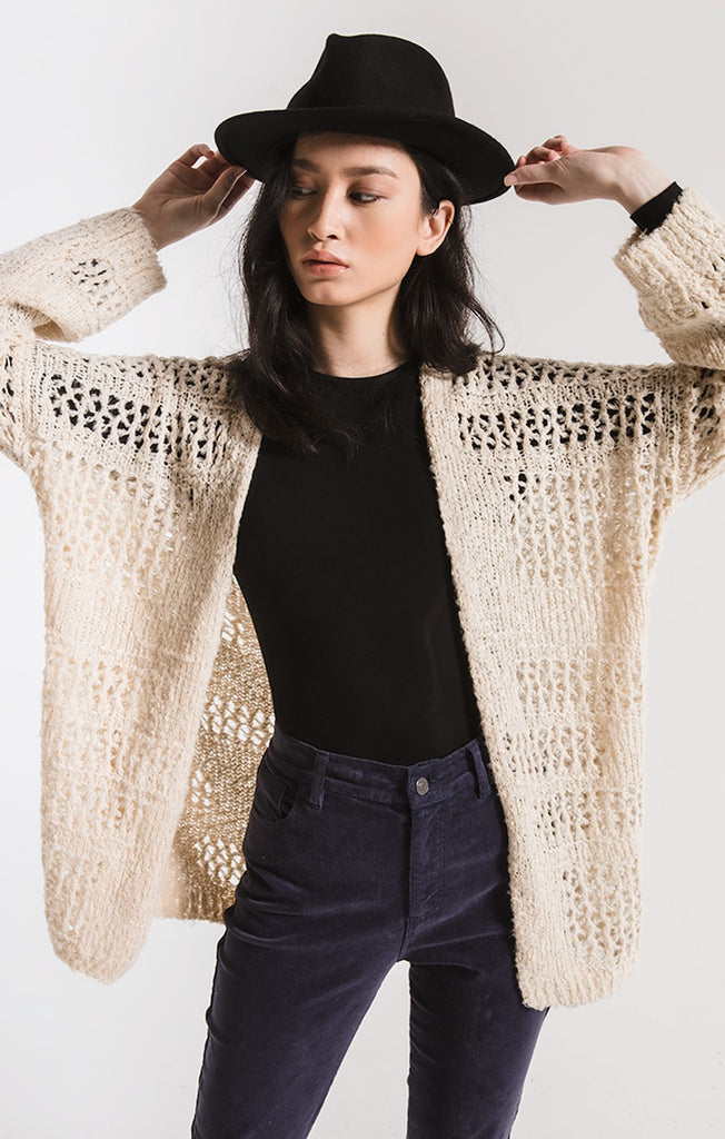 Ezili Open Weave Cardigan In Pearl