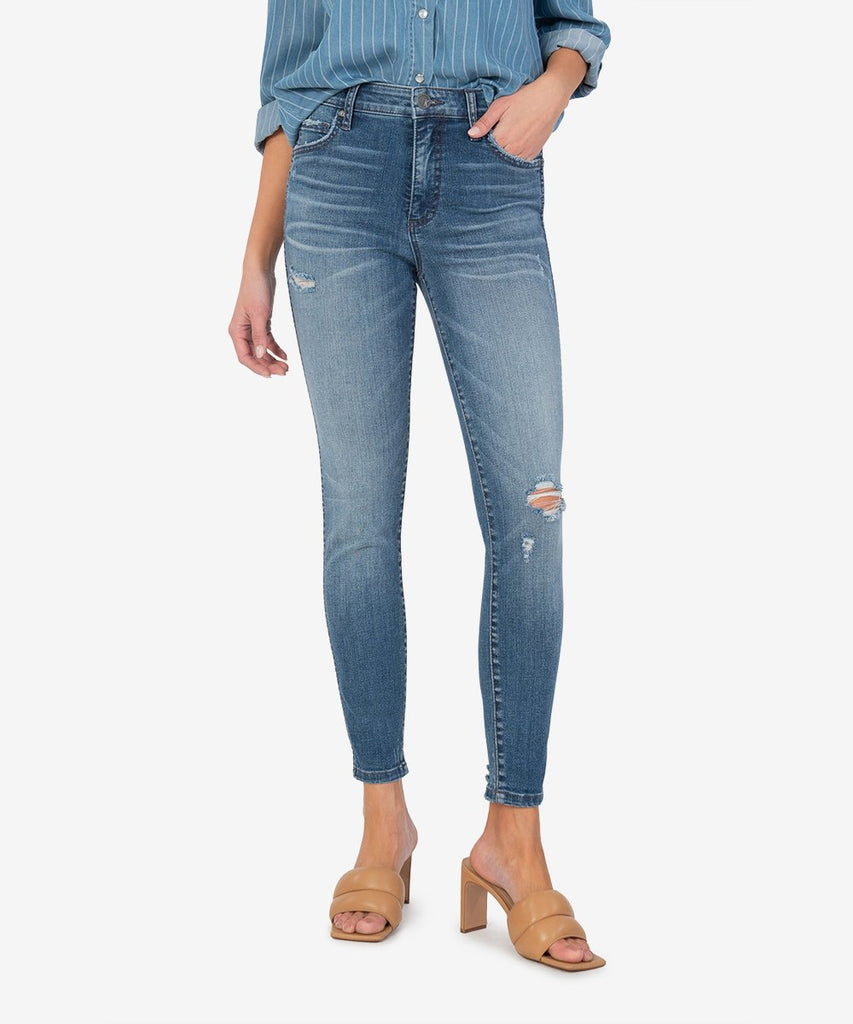 Connie High Rise Fab Ab Ankle Jeans, Manner Wash
