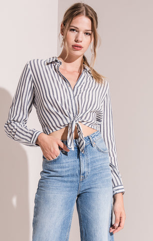 Rag Poets Cecelia Striped Crop Top