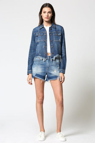 Rebel Cropped Frayed Hem Jacket, Dark Wash