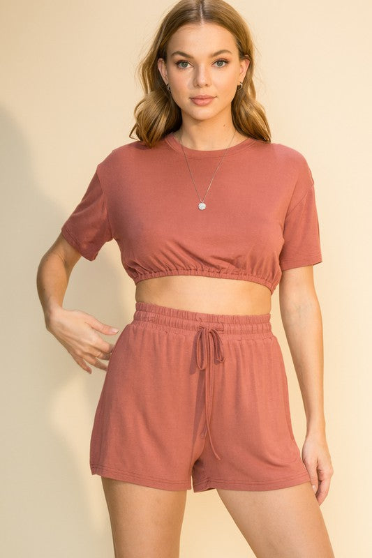 Donna Cropped Tee & Shorts Set, Clay
