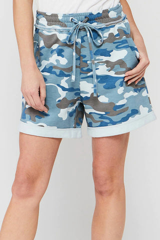 Duchess Camo Pull-On Short, Slate Blue Camo