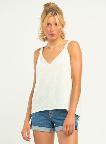 Cora Knot Detail Tank, Cream