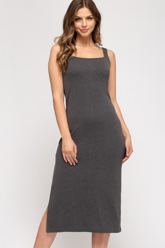 Clara Square Neck Midi Dress, Charcoal