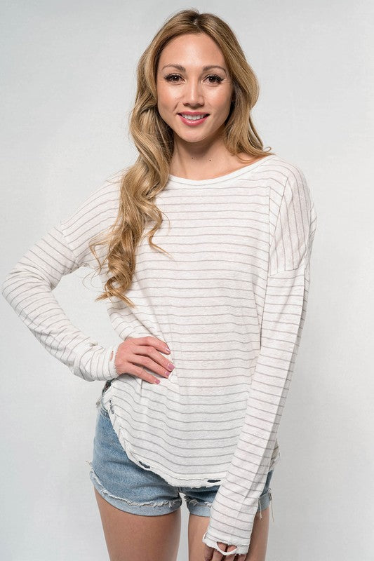 Tia Striped Distressed Top, Ivory/Silver