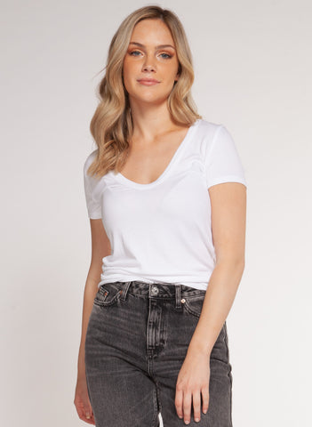 Tobi Scoop Neck Tee, White