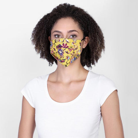Reversible Face Mask - Indigo Mustard