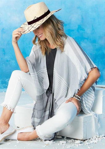 Molly Open Poncho/Scarf In Gray And White