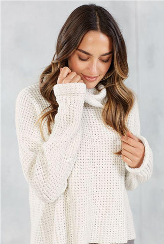 Mud Pie Wendy Waffle Sweater In Cream