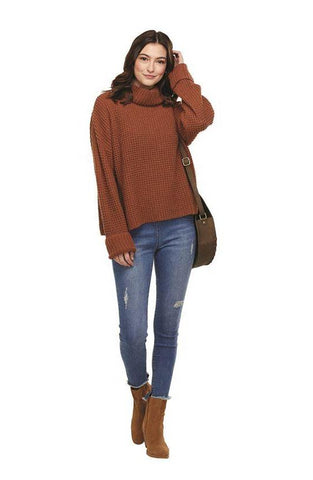 Mud Pie Wendy Waffle Sweater In Rust