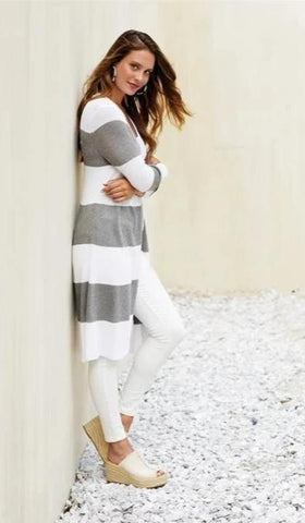 Vince Striped Cardigan In Grey