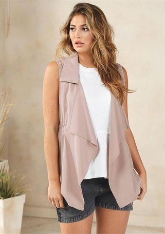 Raven Cinched Vest In Blush
