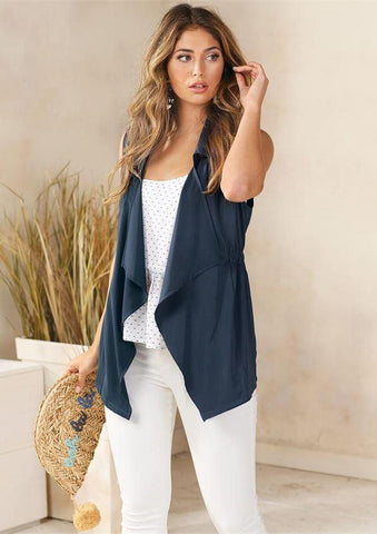 Raven Cinched Vest In Navy