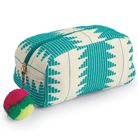 Aztec Teal Green Cosmetic Case