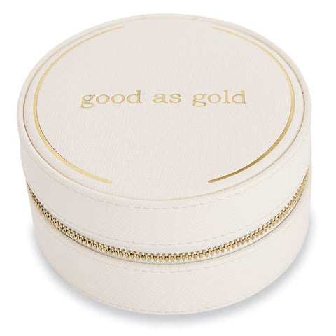 """Good As Gold"" Cream Traveling Jewelry Case"