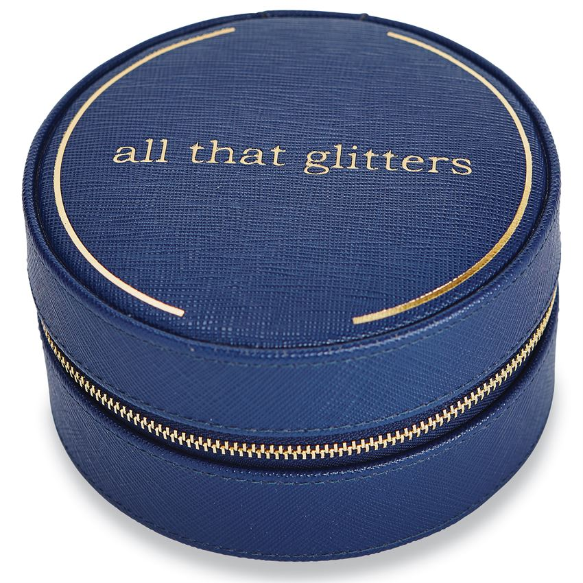 """All That Glitters"" Navy Traveling Jewelry Case"