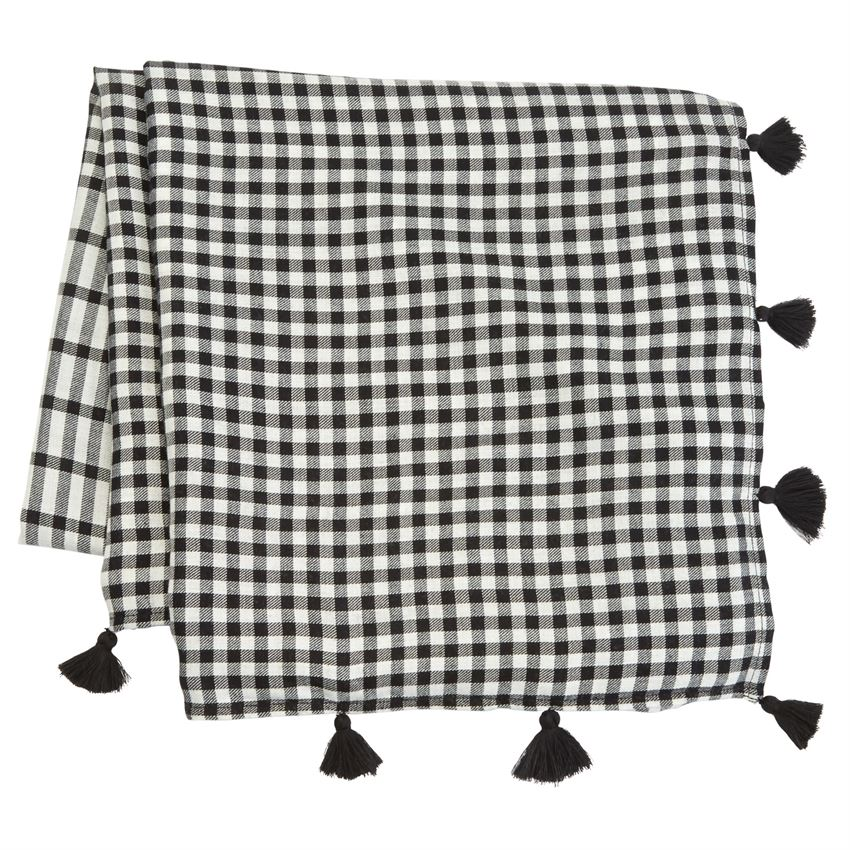 Black And White Gingham Tassled Scarf