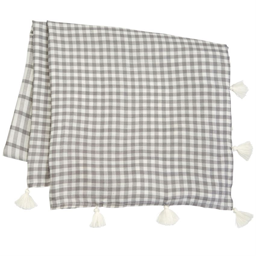 Gray And White Gingham Tasseled Scarf