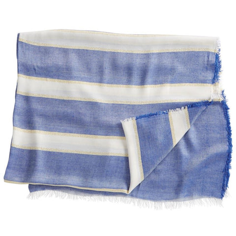 Striped Shimmer Scarf In Light Blue With Fringe